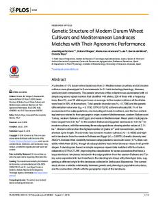Genetic Structure of Modern Durum Wheat Cultivars and ... - PLOS