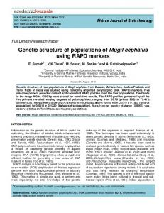 Genetic structure of populations of Mugil cephalus using RAPD markers