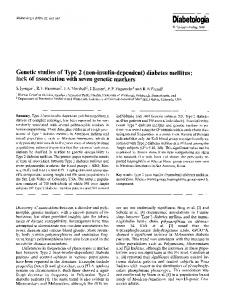 Genetic studies of Type 2 (non-insulin-dependent) diabetes mellitus ...