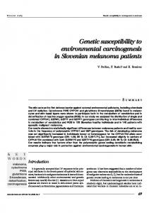 Genetic susceptibility to environmental carcinogenesis in Slovenian ...