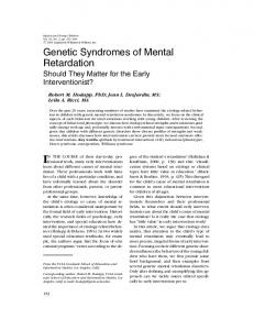 Genetic Syndromes of Mental Retardation