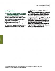 genetic syndromes - Oxford Journals - Oxford University Press