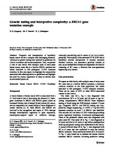 Genetic testing and interpretive complexity: a BRCA1 ... - Springer Link