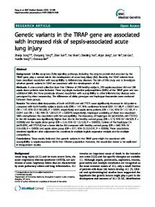 Genetic variants in the TIRAP gene are associated ... - BioMedSearch
