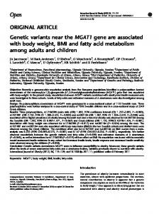 Genetic variants near the MGAT1 gene are associated with body ...