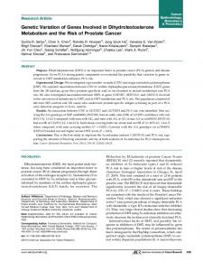 Genetic Variation of Genes Involved in Dihydrotestosterone ...