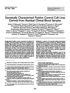 Genetically Characterized Positive Control Cell Lines ... - CiteSeerX