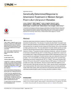 Genetically Determined Response to Artemisinin