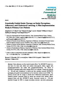 Genetically Guided Statin Therapy on Statin Perceptions ... - MDPI