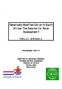 Genetically Modified Cotton in South Africa: The ... - University of Pretoria