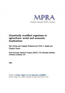 Genetically modified organisms in agriculture - Munich Personal