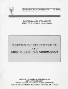 genetics and plant breeding - Indian Council of Agricultural Research