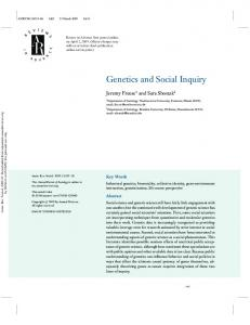 Genetics and Social Inquiry