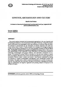 genetics, archaeology and culture - Mediterranean Archaeology and ...
