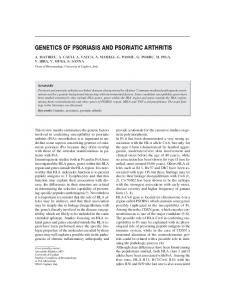 genetics of psoriasis and psoriatic arthritis - Reumatismo