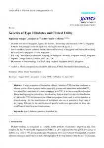 Genetics of Type 2 Diabetes and Clinical Utility - MDPI