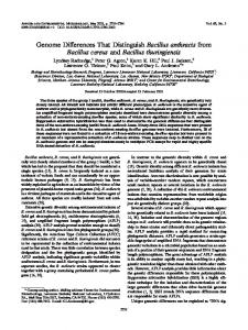 Genome Differences That Distinguish Bacillus anthracis from Bacillus ...
