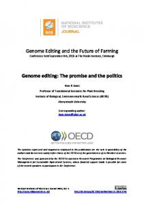 Genome Editing and the Future of Farming Genome editing: The ...
