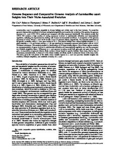 Genome Sequence and Comparative Genome Analysis of ...