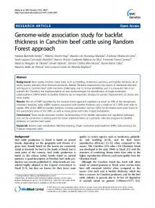 Genome-wide association study for backfat thickness in Canchim beef ...