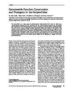 Genomewide Function Conservation and Phylogeny in the ...