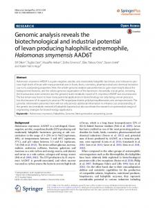 Genomic analysis reveals the biotechnological ... - Semantic Scholar