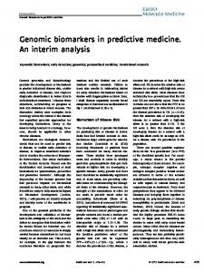 Genomic biomarkers in predictive medicine. An ... - Wiley Online Library