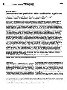Genomic-enabled prediction with classification algorithms - Nature