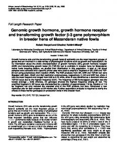 Genomic growth hormone, growth hormone receptor and transforming ...