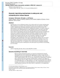 Genomic imprinting mechanisms in embryonic and ...