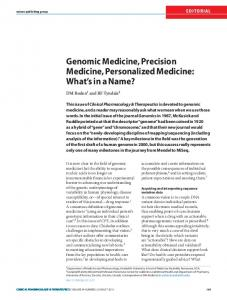 Genomic Medicine, Precision Medicine, Personalized ...