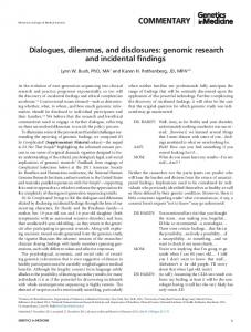 genomic research and incidental findings - DigitalCommons@UM ...