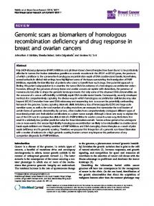 Genomic scars as biomarkers of homologous recombination ...
