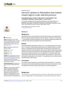 Genomic variation in Plasmodium vivax malaria reveals regions ... - Plos