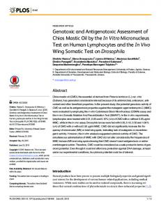 Genotoxic and Antigenotoxic Assessment of Chios