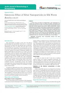 Genotoxic Effect of Silver Nanoparticles in Silk Worm Bombyx mori