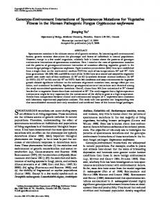 Genotype-Environment Interactions of Spontaneous Mutations for ...