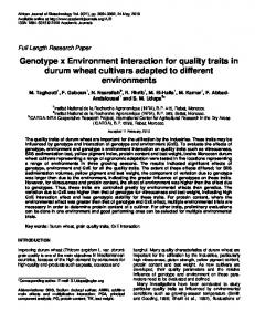 Genotype x Environment interaction for quality traits in durum wheat ...