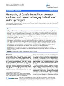Genotyping of Coxiella burnetii from domestic ... - Semantic Scholar