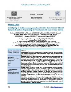 Genotyping of Echinococcus granulosus Isolates from Human Clinical ...