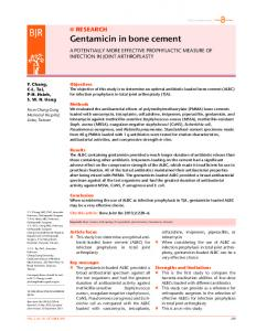 Gentamicin in bone cement - BioMedSearch