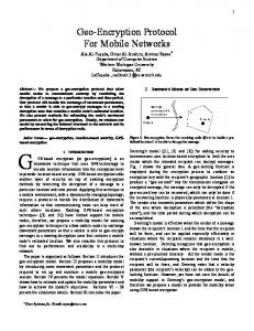 Geo-Encryption Protocol For Mobile Networks - arXiv