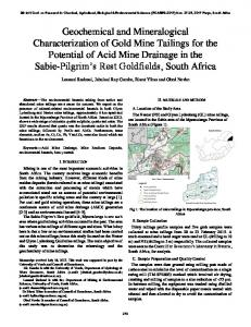 Geochemical and Mineralogical Characterization of