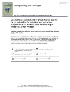 Geochemical assessment of groundwater quality for ...