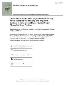 Geochemical assessment of groundwater quality for