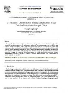 Geochemical Characteristics of the Fluid Inclusion of