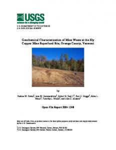 Geochemical Characterization of Mine Waste at the Ely Copper Mine ...