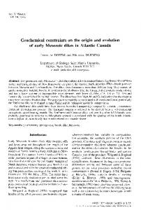 Geochemical constraints on the origin and evolution of early Mesozoic ...