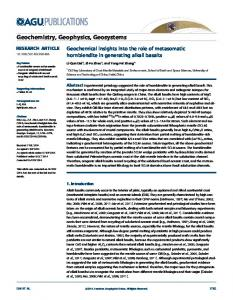 Geochemical insights into the role of ... - Wiley Online Library