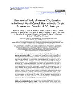 Geochemical Study of Natural CO2 Emissions in the French Massif ...